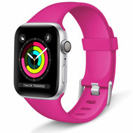 Aluminum Buckle Silicone Band Strap for Apple Watch 44mm / 42mm - Hot Pink