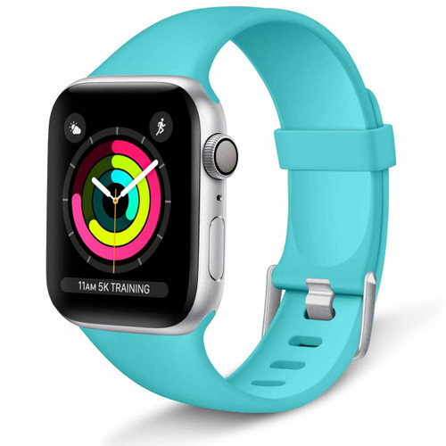 Aluminum Buckle Silicone Band Strap For Apple Watch 44mm