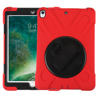 3-IN-1 Hybrid Armor Case with Hand Strap and Rotatable Stand for iPad Pro 10.5 inch - Red