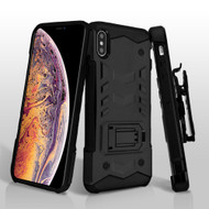 2-IN-1 Combo Falcon Star Hybrid Armor Case with Belt Clip Holster for iPhone XS Max - Black