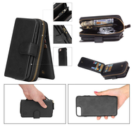 3-IN-1 Luxury Leather Zipper Wallet with Detachable Magnetic Case for iPhone 8 Plus / 7 Plus - Black