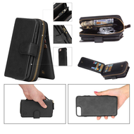 3-IN-1 Luxury Leather Zipper Wallet with Detachable Magnetic Case for iPhone 8 / 7 - Black