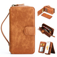 *FINAL SALE* 3-IN-1 Luxury Leather Zipper Wallet with Detachable Magnetic Case for iPhone 8 / 7 - Brown