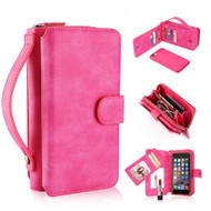 *FINAL SALE* 3-IN-1 Luxury Leather Zipper Wallet with Detachable Magnetic Case for iPhone 8 / 7 - Hot Pink