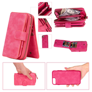3-IN-1 Luxury Leather Zipper Wallet with Detachable Magnetic Case for iPhone 8 Plus / 7 Plus - Hot Pink