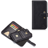 2-IN-1 Leather Wallet with Detachable Magnetic Case for iPhone XS / X - Black
