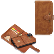 2-IN-1 Leather Wallet with Detachable Magnetic Case for iPhone XS / X - Brown