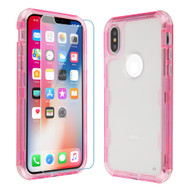 *Sale* Military Grade Certified TUFF Lucid Plus Hybrid Case with Tempered Glass Protector for iPhone XS / X - Pink