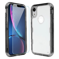 Military Grade Certified TUFF Lucid Plus Hybrid Armor Case with Tempered Glass Screen Protector for iPhone XR - Smoke