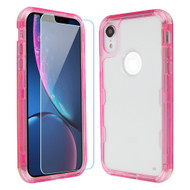 Military Grade Certified TUFF Lucid Plus Hybrid Armor Case with Tempered Glass for iPhone XR - Pink