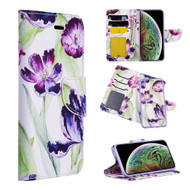Trendy Series Leather Wallet with Detachable Magnetic Case for iPhone XR - Purple Tulip