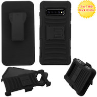 Advanced Armor Hybrid Kickstand Case with Holster for Samsung Galaxy S10 Plus -  Black 201
