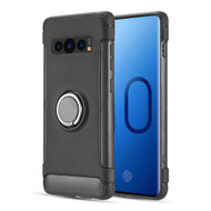 Carbon Edge Sports Hybrid Armor Case with Ring Holder for Samsung Galaxy S10 - Black