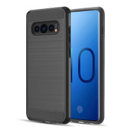 Brushed Texture Armor Anti Shock Hybrid Case for Samsung Galaxy S10 Plus - Black