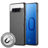 Carbon Metallic Luxury Fusion Case with Magnetic Back Plate for Samsung Galaxy S10 Plus - Black