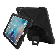 3-IN-1 Hybrid Armor Case with Hand Strap and Rotatable Stand for iPad Pro 9.7 inch - Black