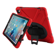 3-IN-1 Hybrid Armor Case with Hand Strap and Rotatable Stand for iPad Pro 9.7 inch - Red