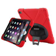 3-IN-1 Hybrid Armor Case with Hand Strap and Rotatable Stand for iPad Air 2 - Red