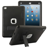 Shock Absorption Heavy Duty Rugged Hybrid Armor Case with Kickstand for iPad Air - Black