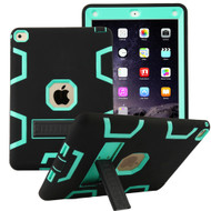 Shock Absorption Heavy Duty Rugged Hybrid Armor Case with Kickstand for iPad Air 2 - Black Teal Green