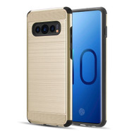 Brushed Texture Armor Anti Shock Hybrid Case for Samsung Galaxy S10 - Gold