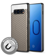 Carbon Metallic Luxury Fusion Case with Magnetic Back Plate for Samsung Galaxy S10 - Grey
