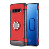 Carbon Edge Sports Hybrid Armor Case with Ring Holder for Samsung Galaxy S10 - Red