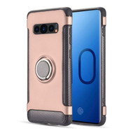 Carbon Edge Sports Hybrid Armor Case with Ring Holder for Samsung Galaxy S10 - Rose Gold