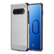 Brushed Texture Armor Anti Shock Hybrid Case for Samsung Galaxy S10 Plus - Silver
