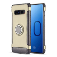 Carbon Edge Sports Hybrid Armor Case with Ring Holder for Samsung Galaxy S10 Plus - Gold