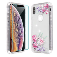 Military Grade Certified TUFF Lucid Plus Hybrid Case with Tempered Glass Screen Protector for iPhone XS Max - Romantic Love Flowers