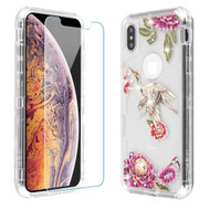 Military Grade Certified TUFF Lucid Plus Hybrid Case with Tempered Glass Screen Protector for iPhone XS Max - Crane