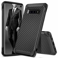 Tough Anti-Shock Hybrid Case for Samsung Galaxy S10 - Carbon Fiber
