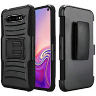 Advanced Armor Hybrid Kickstand Case with Holster for Samsung Galaxy S10 - Black