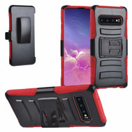 Advanced Armor Hybrid Kickstand Case with Holster for Samsung Galaxy S10 - Red