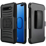 Advanced Armor Hybrid Kickstand Case with Holster for Samsung Galaxy S10 Plus - Black