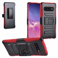 Advanced Armor Hybrid Kickstand Case with Holster for Samsung Galaxy S10 Plus - Red
