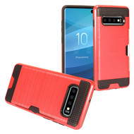 ID Card Slot Hybrid Case for Samsung Galaxy S10 Plus - Red