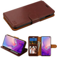 Book-Style Leather Folio Case for Samsung Galaxy S10e - Brown