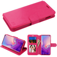 Book-Style Leather Folio Case for Samsung Galaxy S10e - Hot Pink