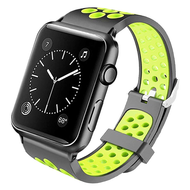 Perforated Sport Band Watch Strap for Apple Watch 44mm / 42mm - Black Green