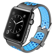 Perforated Sport Band Watch Strap for Apple Watch 40mm / 38mm - Black Baby Blue