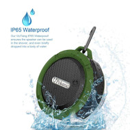 *SALE* IPX5 Waterproof Bluetooth Wireless Speaker with Suction Cup and Carabiner - Green