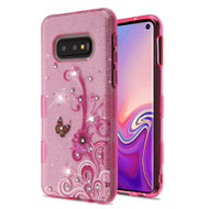 Tuff Full Glitter Diamond Hybrid Protective Case for Samsung Galaxy S10e - Butterfly Flowers