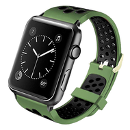 Perforated Sport Band Watch Strap for Apple Watch 44mm / 42mm - Green Black