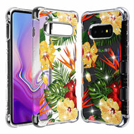 TUFF Klarity Lux Diamond Electroplating Transparent Anti-Shock TPU Case for Samsung Galaxy S10e - Hibiscus