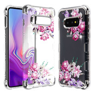 TUFF Klarity Lux Diamond Electroplating Transparent TPU Case for Samsung Galaxy S10e - Romantic Love Flowers
