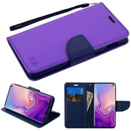 Diary Leather Wallet Stand Case for Samsung Galaxy S10e - Purple Navy Blue
