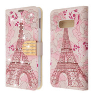 Luxury Bling Portfolio Leather Wallet Case for Samsung Galaxy S10e - Eiffel Tower