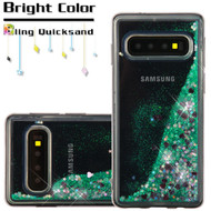 Quicksand Glitter Transparent Case for Samsung Galaxy S10 - Teal Green